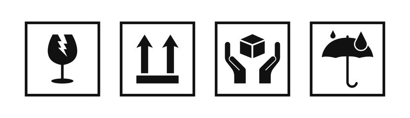 Fragile package signs set icons set vector