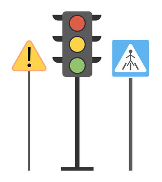 Symbolism of traffic signs. Traffic light, pedestrian crossing sign, zebra, special attention. Follow the rules of the road. Traffic Laws. Educational illustration for children in flat vector style.