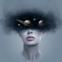 Obraz Fantasy art portrait of young woman with head in galaxy outer space - fototapety do salonu