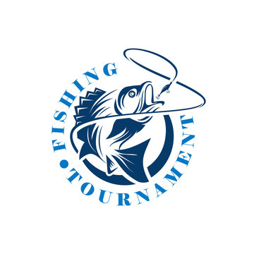 Fishing Tournament Logo Template,   Fishing logo design template illustration . Sport fishing Logo, Vintage Bass Fishing Emblems and Labels. Vector Illustration.