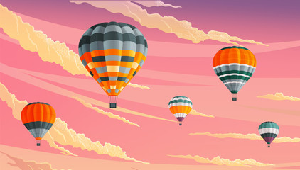 Hot air balloons in clouds against a lilac cloudy sky. Striped hot air balloons festival vector illustration. Beautiful sight several colored bright balls in the sunset sky. Romantic flight, travel