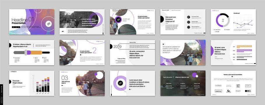 Geometric Purple Presentation Element Templates. Vector infographics. For use in Presentation, Flyer and Leaflet, SEO, Marketing, Webinar Landing Page Template, Website Design, Banner.
