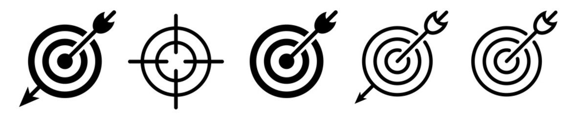 Target icon vector set. Goal icons.  Target with arrow – set isolated on white background