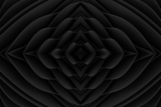 High technology kaleidoscope abstract background. Cyberpunk wall with the lights. Three-dimensional mirrored render illustration.