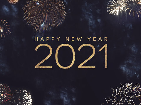 Happy New Year 2021 Text Holiday Graphic with Gold Fireworks in Night Sky