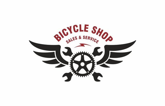 Color illustration of crossed wrenches, wings, bicycle gear, red text on a white background. Vector illustration advertises the sale and service of bicycles. Bicycle shop logo.
