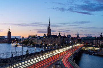 skyline of stockholm at night