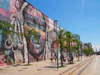 Rio de Janeiro, Brazil - 03/11/2020: graffiti wall with faces of people from differnt nationalites.