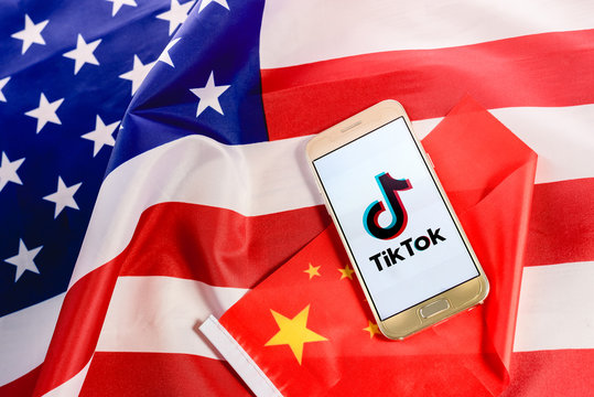 Valencia, Spain - August 17, 2020: American Government intends to ban use of the Chinese app TikTok.