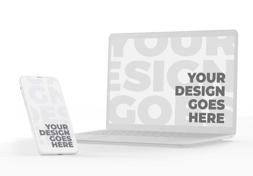 White Clay Smartphone and Laptop Mockups on Solid Surface