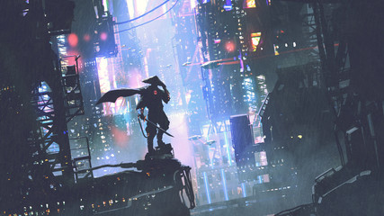 futuristic samurai standing on a building in cyberpunk city at rainy night, digital art style, illustration painting