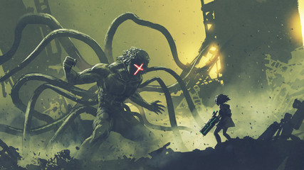 sci-fi scene of a girl facing the giant monster with tentacles, digital art style, illustration painting