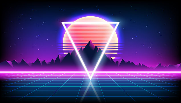 80s Retro Sci-Fi Background with Sunrise or Sunset night sky with stars, mountains landscape infinite horizon mesh in neon game style. Futuristic synth retrowave illustration in 1980s posters style.