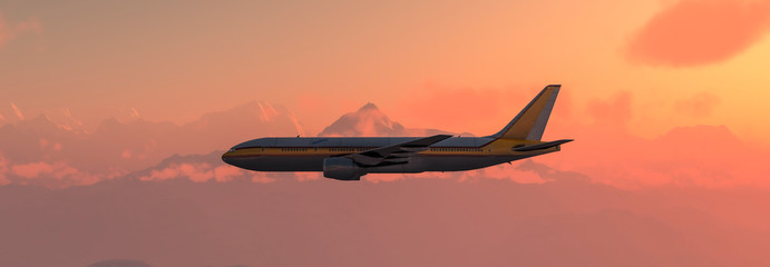 passenger plane in the sky Fotobehang