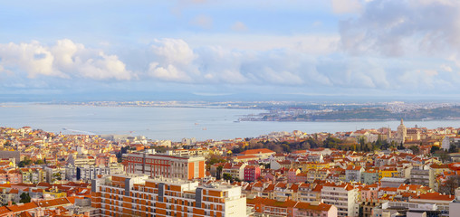 Fotomurales - Panoramic view Lisbon downtown Portugal