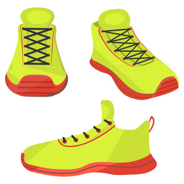 Sneakers. New bright shoes from different angles in a cartoon style to add to the animation of the character.