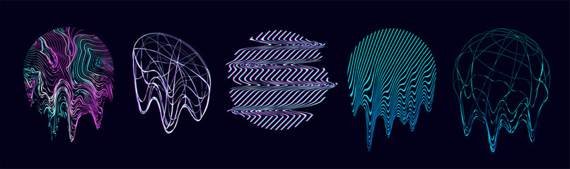 Fototapeta Retrofuturism shapes, circle glitch and liquid elements. Holographic illuminated in 80s-90s. Futuristic design vaporwave, synthwave. Trandy shapes for merch and T-shirt. Vector set glitch elements obraz