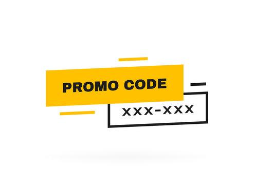 Promo code, coupon code label design. Geometric flat banner. Modern vector illustration