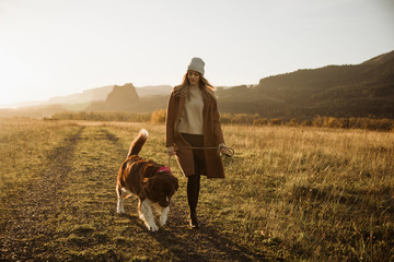 Woman walking her dog