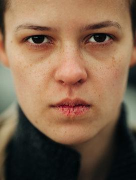 Closeup Of Androgyne Woman
