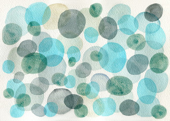 Watercolor green and blue circles