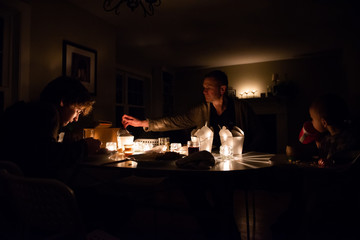 Family Eats Take-Out Dinner During Power Outage