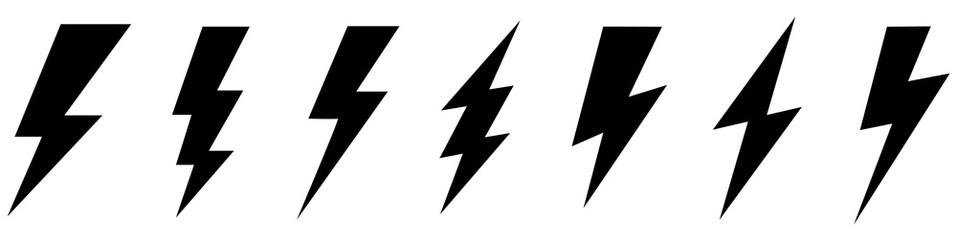 Set lightning bolt. Thunderbolt flat style - stock vector. Wall mural