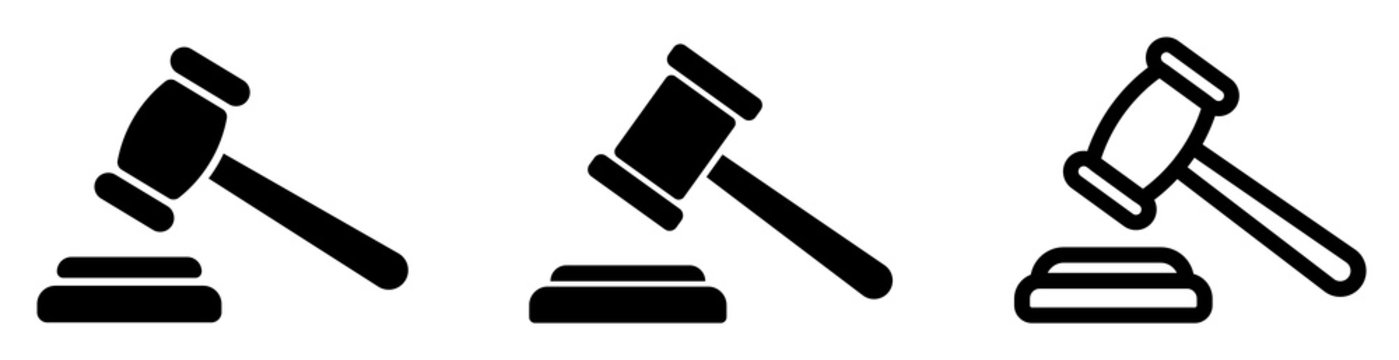 Gavel set icons. Judge gavels collection flat icon. Auction hammer icon. Gavel icon in different style. Court tribunal symbol - stock vector.