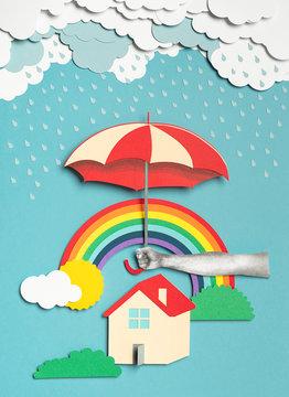 House and umbrella under the rain