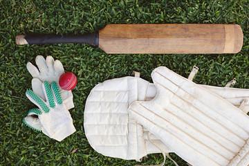 Summer sport of cricket - flat lay of cricket items