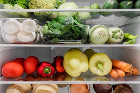 Fridge filled with vegetables