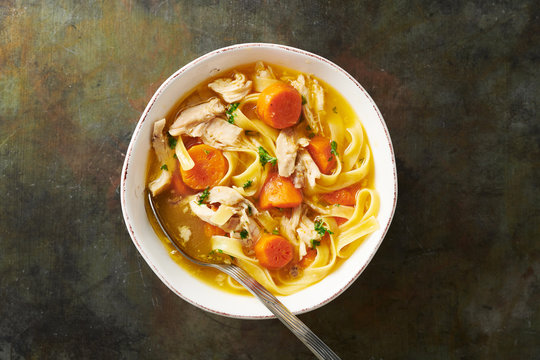 Bowl of FODMAP Chicken Noodle Soup
