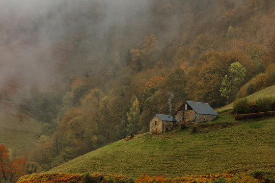 Landscape with amazing rural homes on mountains, at autumn.