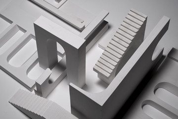Completed architectural model demo, architect and his work