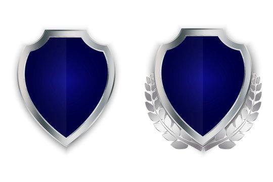 Vector blue shield. Silver family coat of arms. Heraldic royal illustration. Medieval emblem. Vector image. Stock illustration.