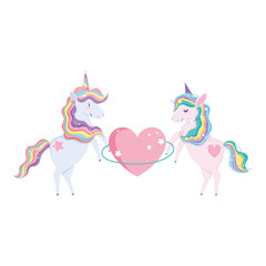 cute unicorns with huge heart and clouds foliage nature magic cartoon