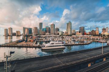 miami bridge skyline downtown  city florida usa views buildings boats