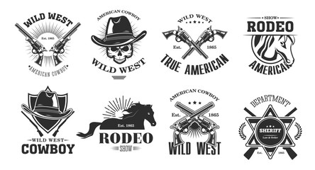 Wild west emblems set. Monochrome elements with skull in cowboy hat, rodeo horse, crossed gun, sheriff badge. Vintage vector illustrations collection isolated on white background