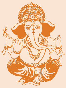 Drawing of Lord Ganesha or Ganapati Outline Editable Vector Illustration
