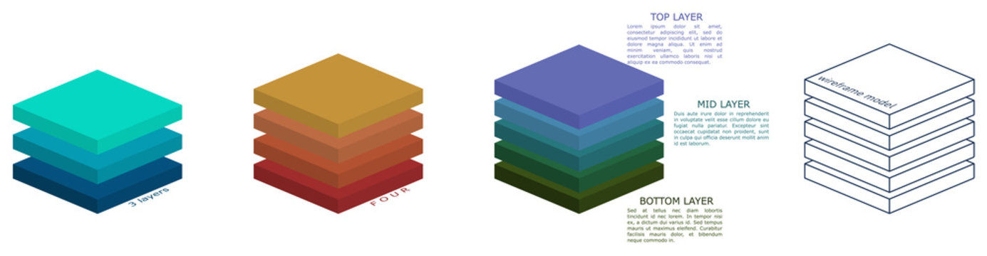 Simple three dimensional square layers drawing, different versions can be used in infographic
