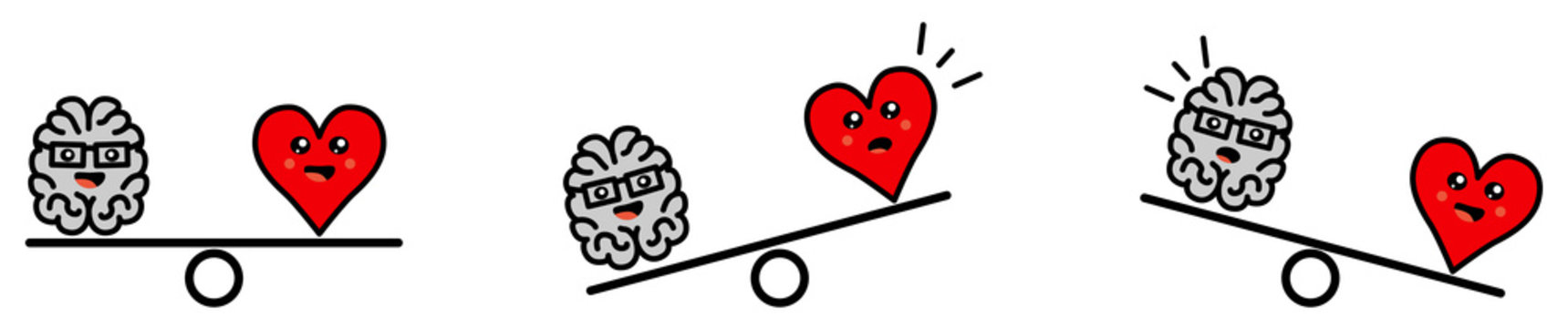 Cute Kawaii style brain and heart on weight scales, balanced or one side heavier version, emotions and rational thinking conflict concept