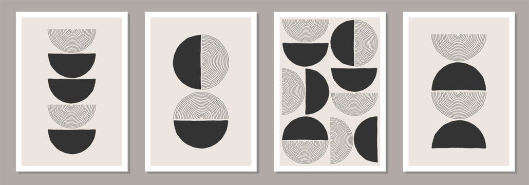 Trendy set of abstract creative minimalist artistic hand drawn compositions