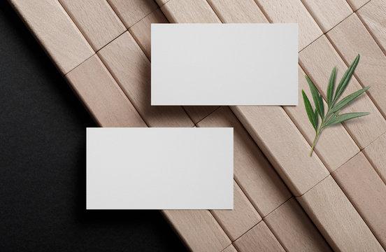 Minimal business card mockup on wooden block