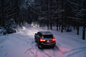 car in winter forest, landscape travel in christmas snowy forest