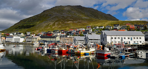 The port of Honningsvag, Norway. Most northern city in Norway and north of the arctic circle