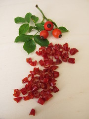 Dried red rosehip peel from the wild rose, dogrose