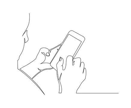 Continuous one line drawing Smartphone phone in hand. Simple line drawing hand using modern mobile phone. view of man hands holding smart phone