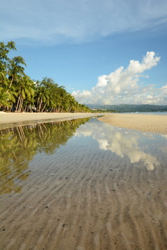 Reflections on White beach. Boracay island. Western Visayas. Philippines