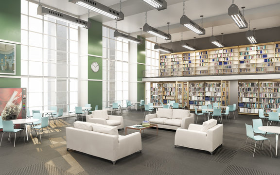 Modern library of High school  . 3d illustration