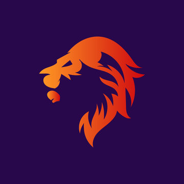 Lion fire logo template